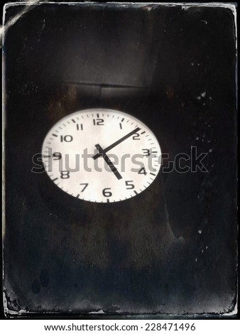 Old antique clock on the wall  - stock photo