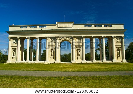 old antique colonnade near Valtice - stock photo
