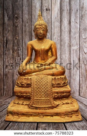 Old antique Copper Buddha sculpture isolated - stock photo