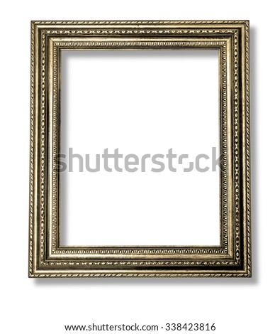 Old Antique gold frame Isolated Decorative Carved Wood Stand Antique Black Frame Isolated On White Background with clipping path - stock photo