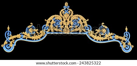 old antique gold frame Stucco walls greek culture roman vintage style pattern line design for border isolated on black background with clipping path. - stock photo