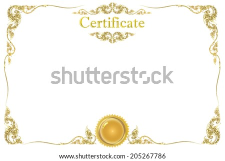 old antique gold frame Stucco walls Thai style pattern isolated on white background of Gold horizontal certificate template with clipping path. - stock photo