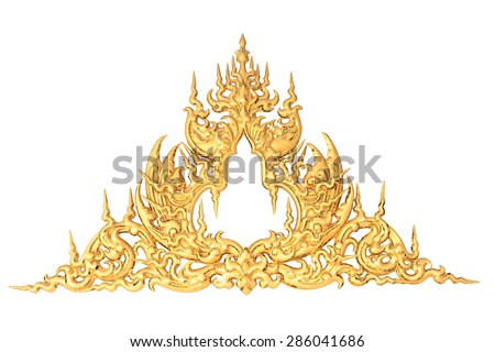 old antique gold frame Stucco walls Thai style pattern isolated on white background with clipping path.