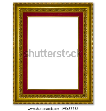Old antique gold picture frame wall, wallpaper, decorative objec - stock photo