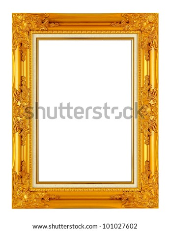 old antique golden frame isolated on white background - stock photo