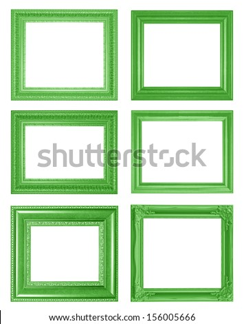 Old Antique Green frame Isolated Decorative Carved Wood Stand Antique Green Frame Isolated On White Background - stock photo
