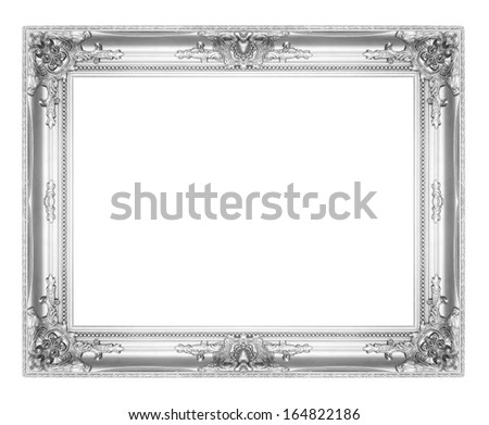 old antique silver picture frames isolated on white background