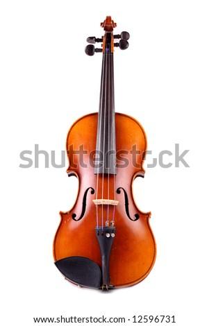 old antique violin - stock photo
