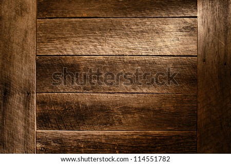 Old antique wood board plank grunge background built with aged and weathered vintage barn wood featuring worn grain and texture - stock photo