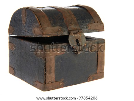 Old antique wooden treasure box