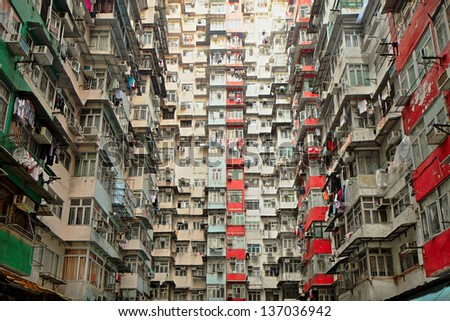 Old apartment in Hong Kong - stock photo