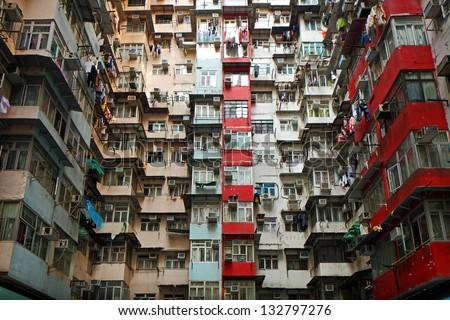 Old apartments in Hong Kong - stock photo