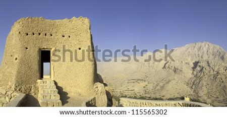 old arabian fort in ras al khaimah - stock photo