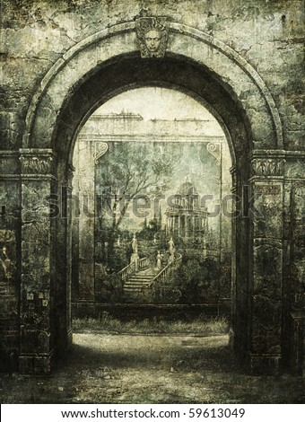 Old arch. Tempera on paper. - stock photo