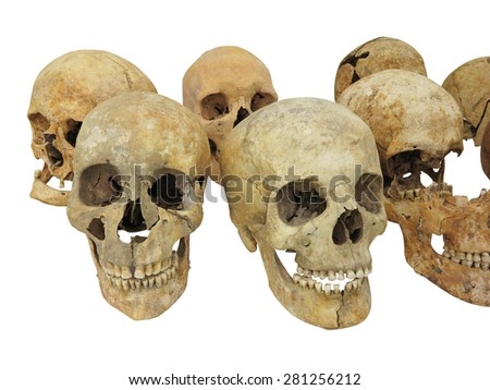 Old archaeological find human skull cranium isolated on white background - stock photo