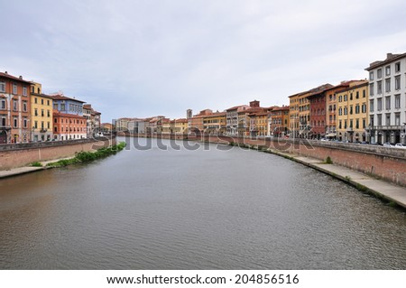 Old architecture and river Arno , Pisa, Italy