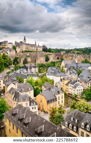 Old architecture in the city of Luxembourg, Europe on a summer day.