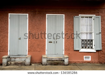 Old architecture in the french quarter of New Orleans - stock photo