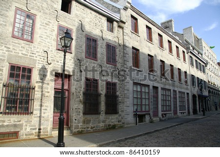Old architecture in the heart of old Montreal, Quebec, Canada - stock photo
