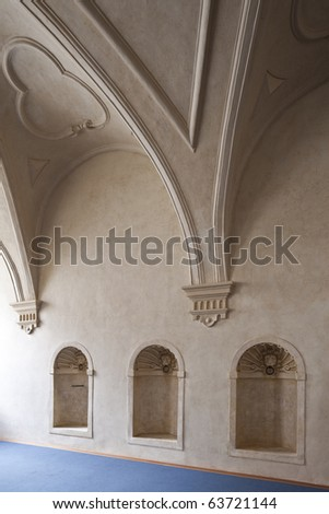 old architecture interior of the palace Wallenstein Prague