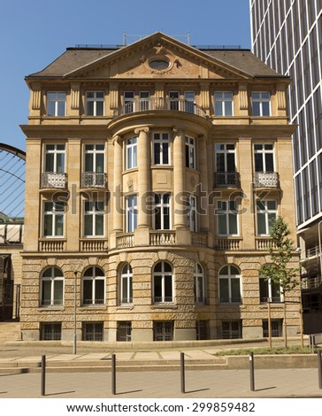 Old architecture of Frankfurt am Main. Frankfurt is the fifth-largest city in Germany. - stock photo