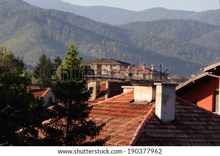 Old area of Velingrad, Bulgaria. View to Rhodopes. - stock photo