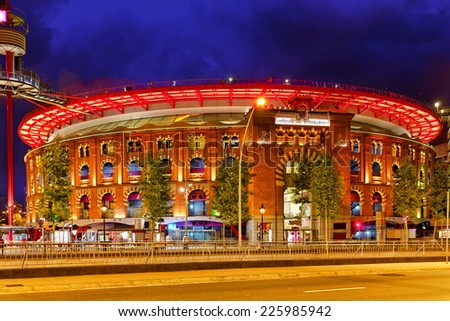 Old Arena building in Barcelona, Catalonia, Spain. Night view. - stock photo