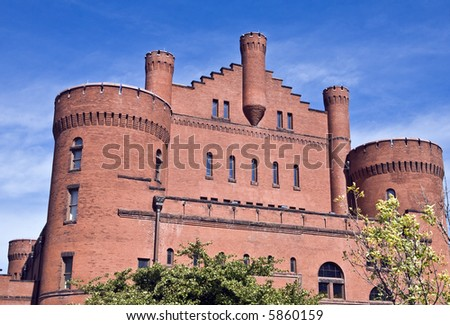 Old armory building on campus of Wisconsin University at Madison - stock photo