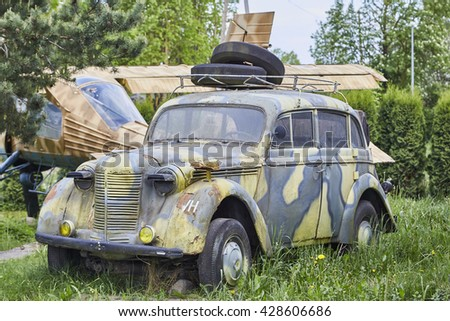 Old army car on backyard. Captured 20 may 2016. Editorial photo.