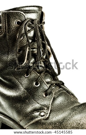 old army style boot closeup isolated on white - stock photo