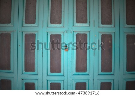 Old asia style wood door with lock