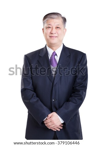 old Asian businessman in suit - stock photo