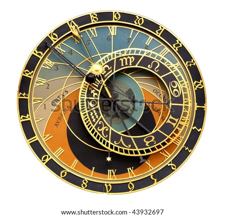 Old astronomical clock - stock photo