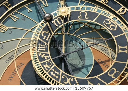 old astronomical clock in Prague, Czech republic - stock photo