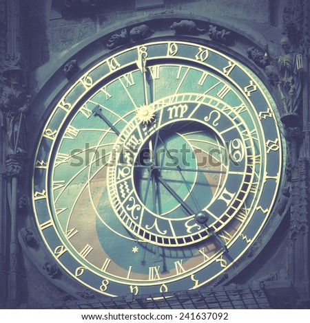 Old astronomical clock (The Horologe)  in Prague, Czech Republic Instagram style filtred image - stock photo