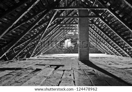 Old attic - stock photo