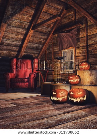 Old attic with cobwebs, Halloween pumpkins and a red armchair - stock photo