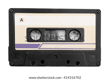Old audio cassette, isolated on white - stock photo