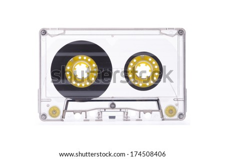 Old audio cassette isolated white background - stock photo