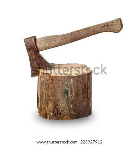 Old axe stuck in log over white background - stock photo