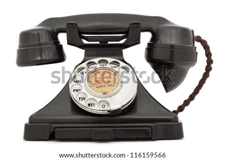 Old bakelite telephone. GPO 200 Series. 232 model. isolated on white with clipping path - stock photo