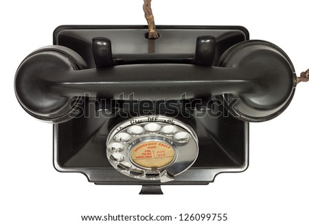 Old bakelite telephone. GPO 200 Series. 232 model. Shot from above. Isolated on white with clipping path