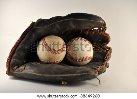 Old Ball Glove with Baseballs