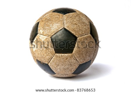 Old ball isolated on a white background - stock photo
