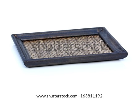 old bamboo tray isolated on white background