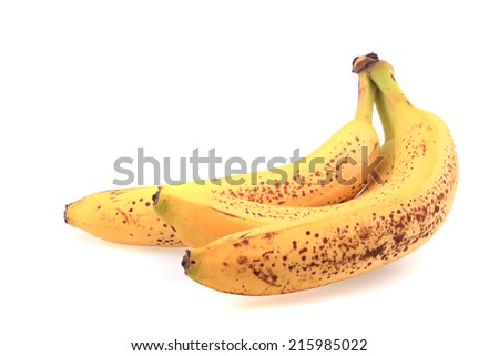 old bananas isolated on the white background - stock photo