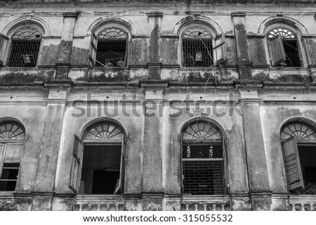 Old Bangrak historical fire station in Bangkok Thailand - Black & White