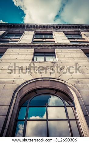 Old Banking Building From Below With Sky - stock photo