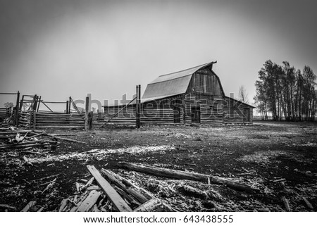 Old Barn Black And White
