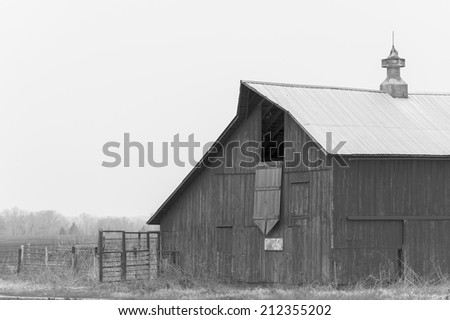 Old Barn in Black and White - stock photo